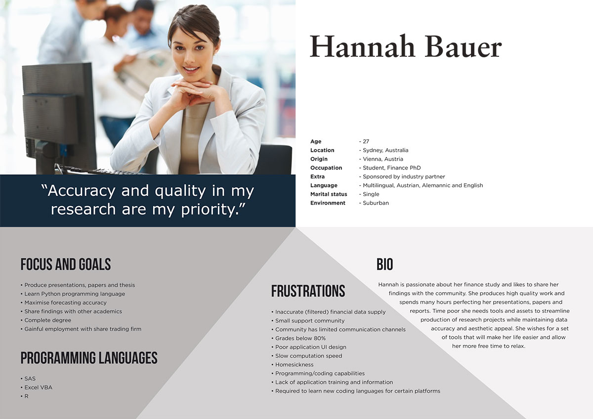 UX Persona 2 - Finance Student Hannah Bauer